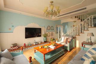 蓝色唯美地中海风格 别墅室内装修图
