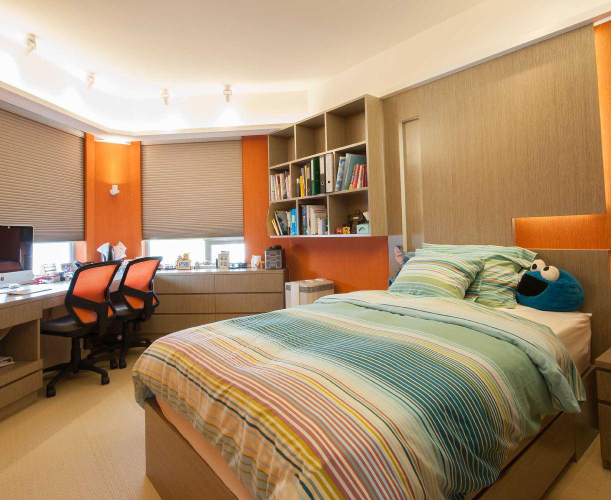 时尚现代儿童卧室书房一体设计