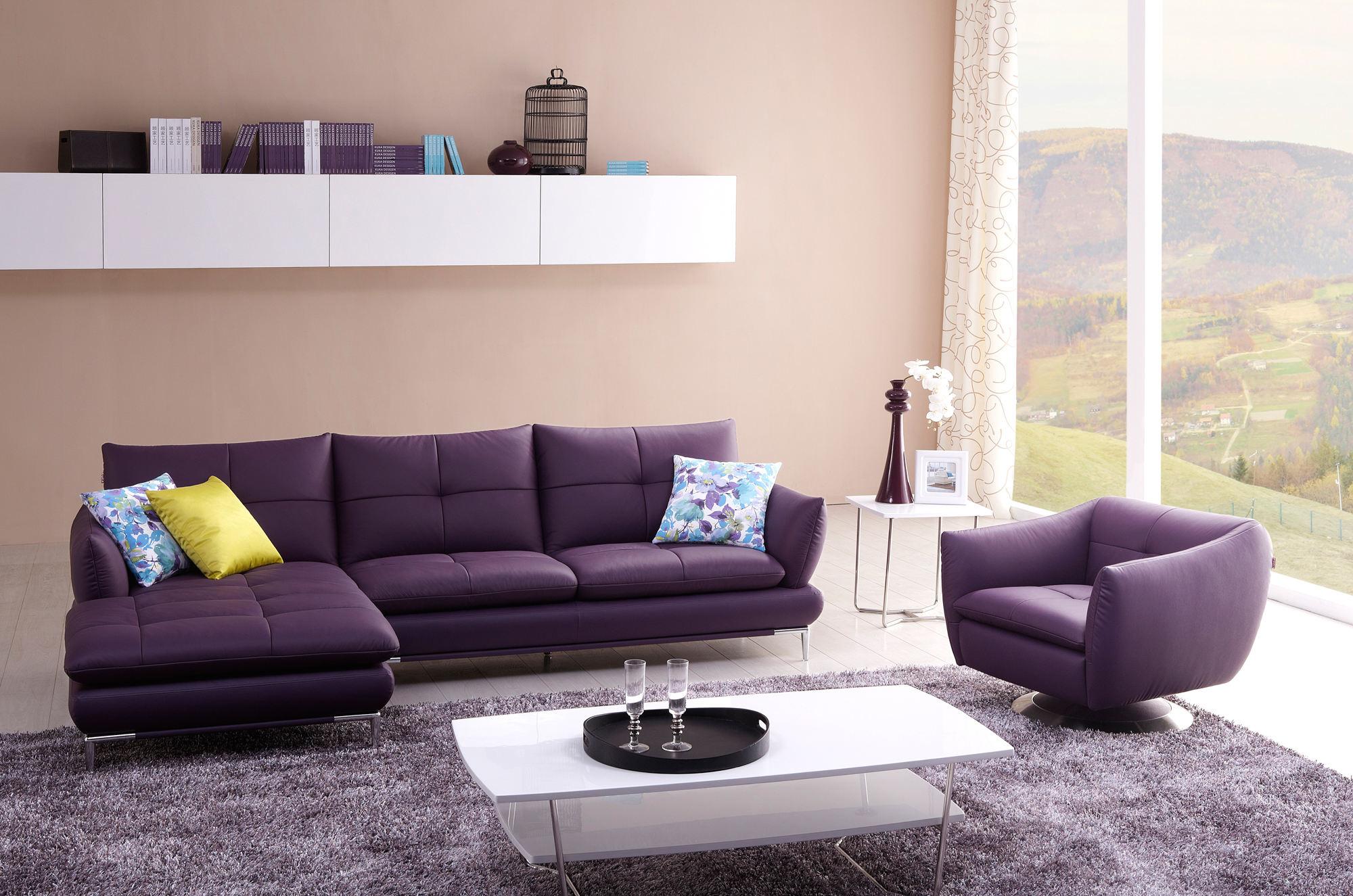 优雅现代客厅紫色沙发装饰图