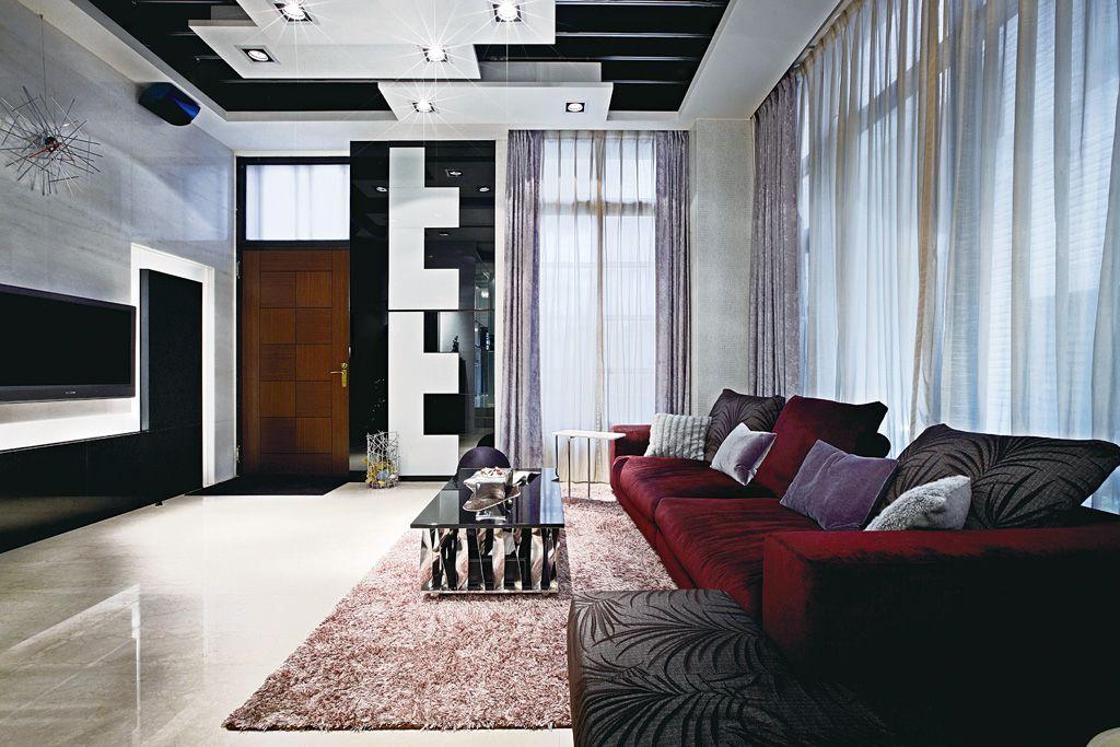 后现代简欧风客厅 紫色窗帘设计