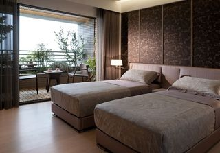 典雅中式双人房卧房效果图