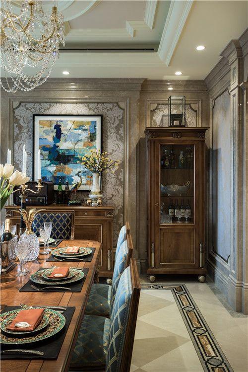 古朴美式餐厅酒柜设计
