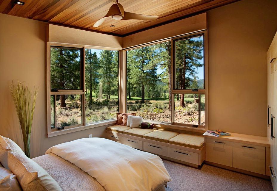 时尚现代风 山野别墅卧室窗户效果图