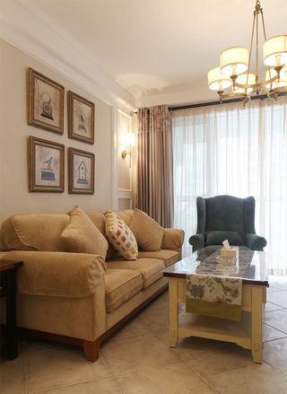 时尚美式家居客厅沙发照片墙欣赏