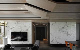 现代自然风混搭 客厅大理石墙面设计