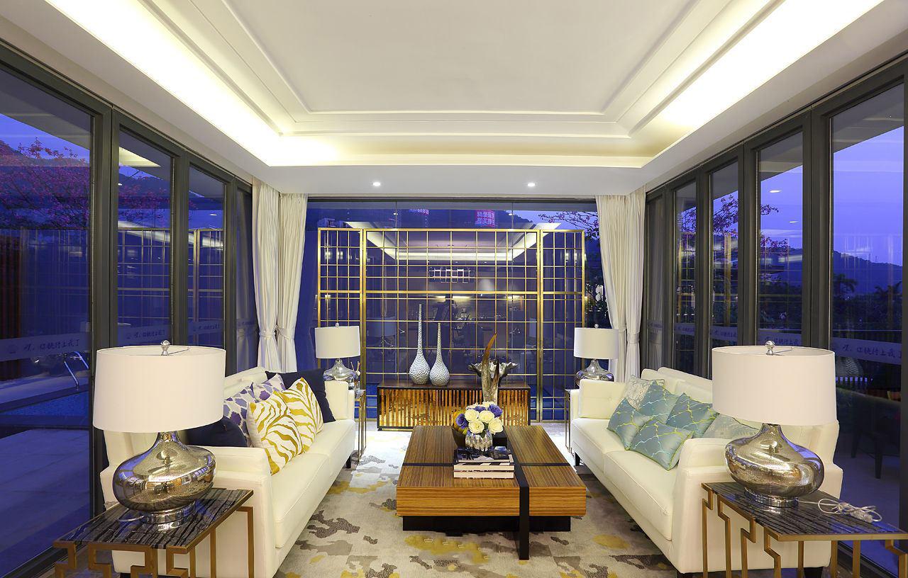 创意现代风美式 玻璃幕墙客厅效果图