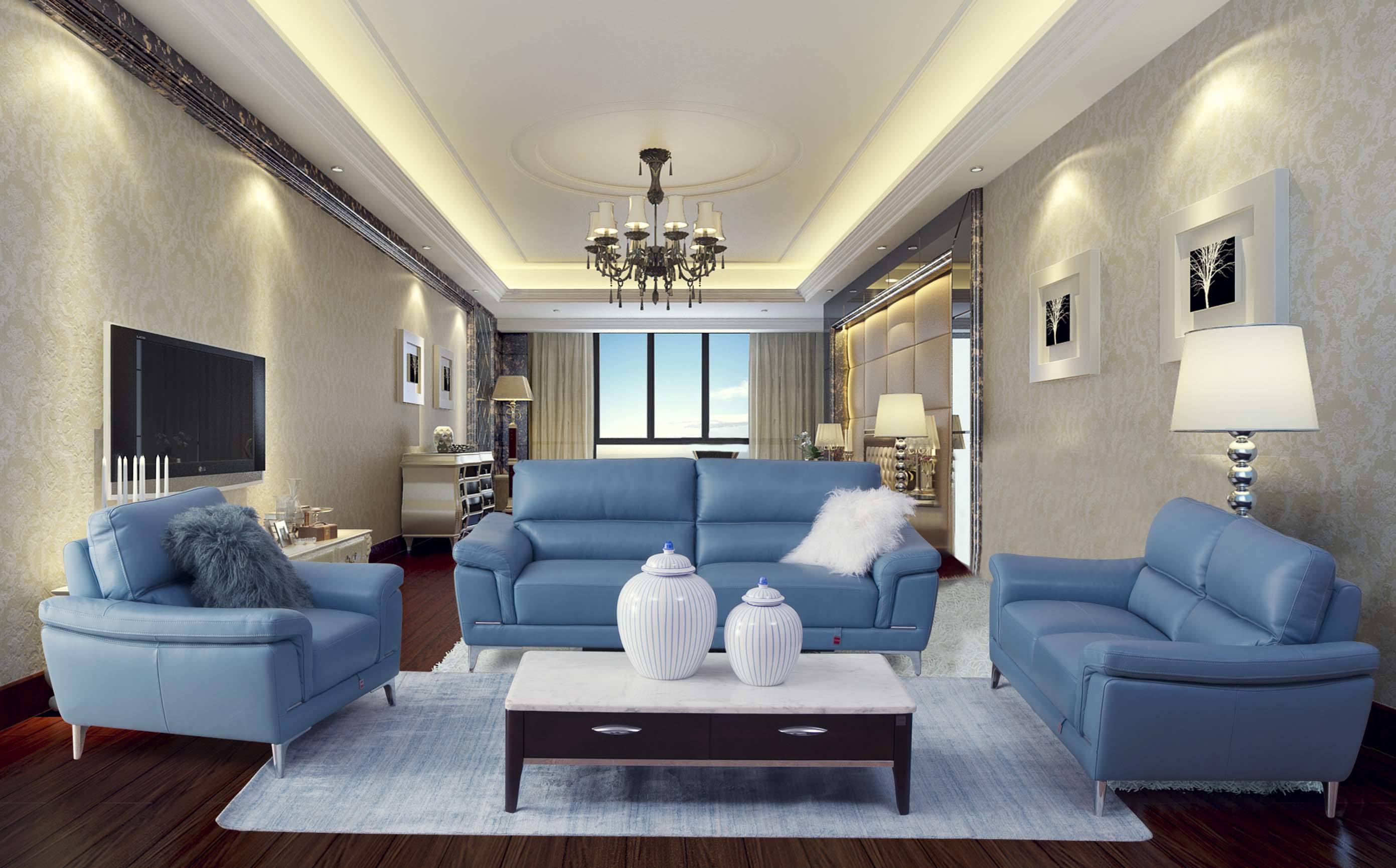 现代家居客厅蓝色沙发效果图