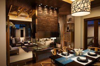 复古东南亚风情 客餐厅隔断设计