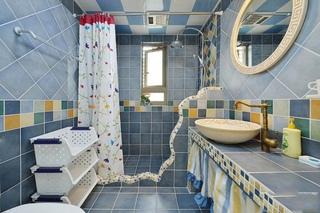 清爽蓝色地中海风情卫生间装修效果图