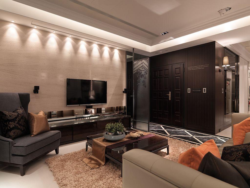 咖色系美式客厅 电视背景墙效果图