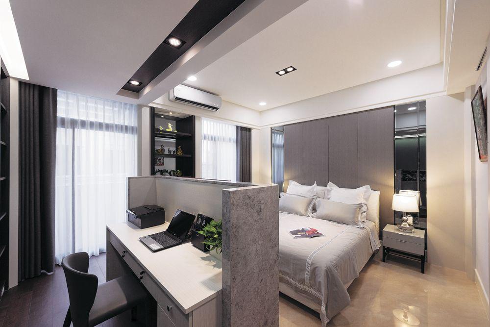 现代风格大卧室 巧妙书桌隔断设计
