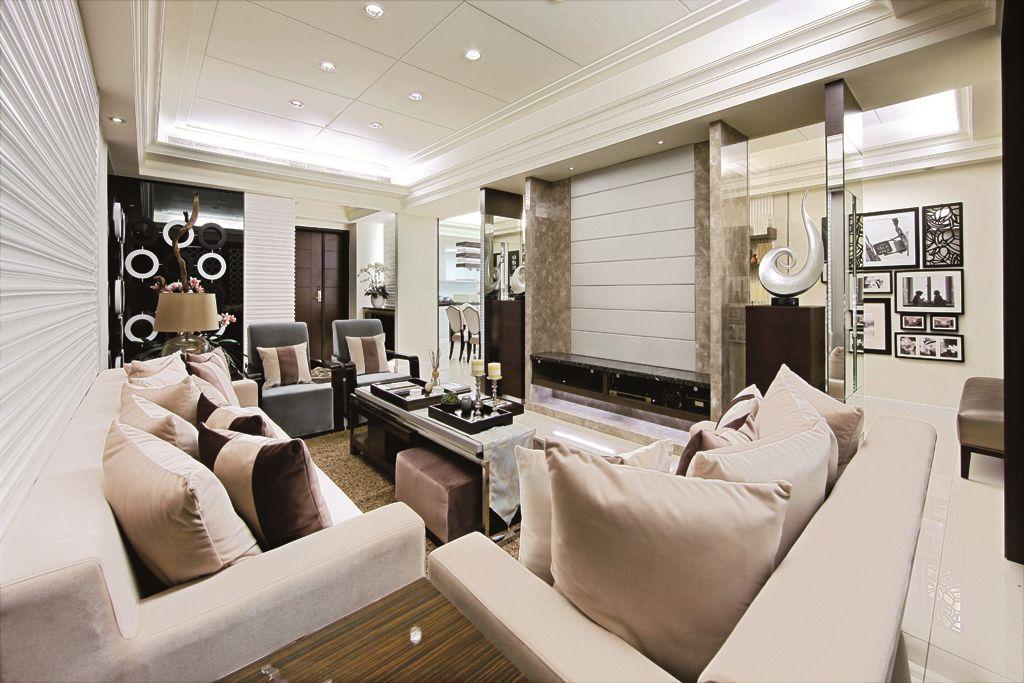 奢华现代新古典客厅整体效果图