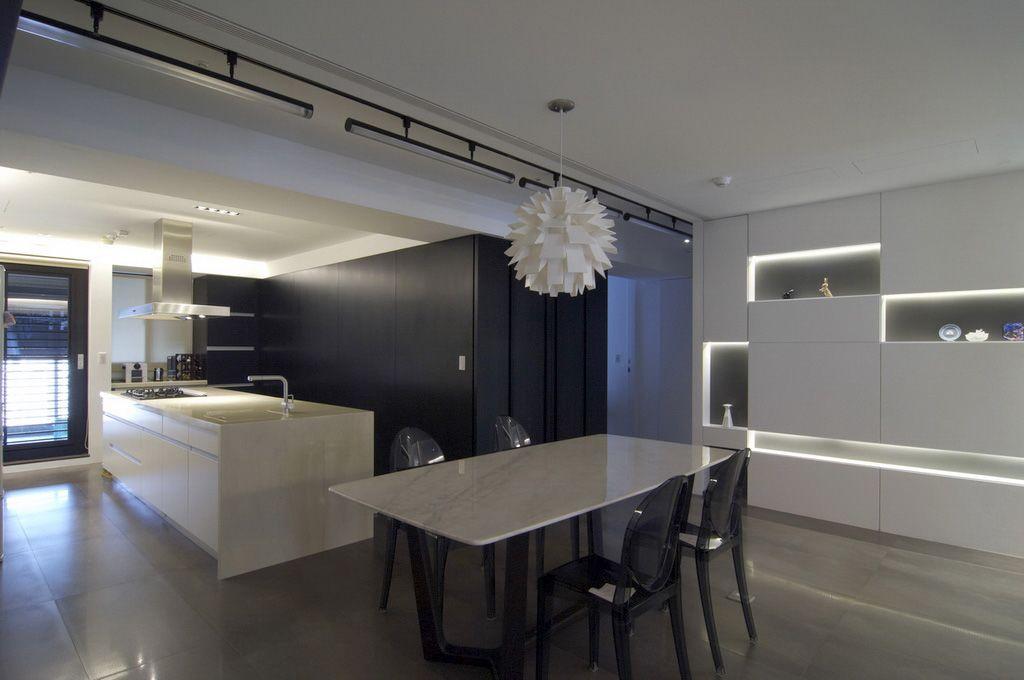 黑白现代风餐厅厨房效果图