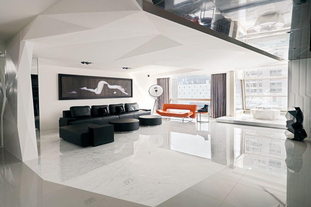 时尚后现代跃层客厅 创意吊顶装饰大全