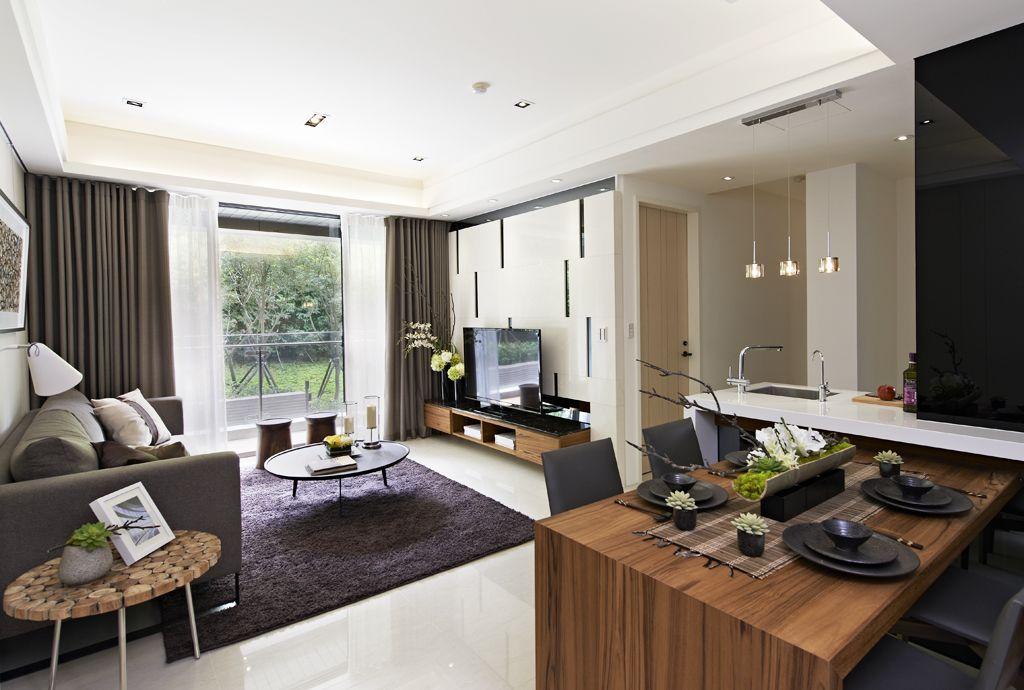 现代家装客厅落地窗效果图
