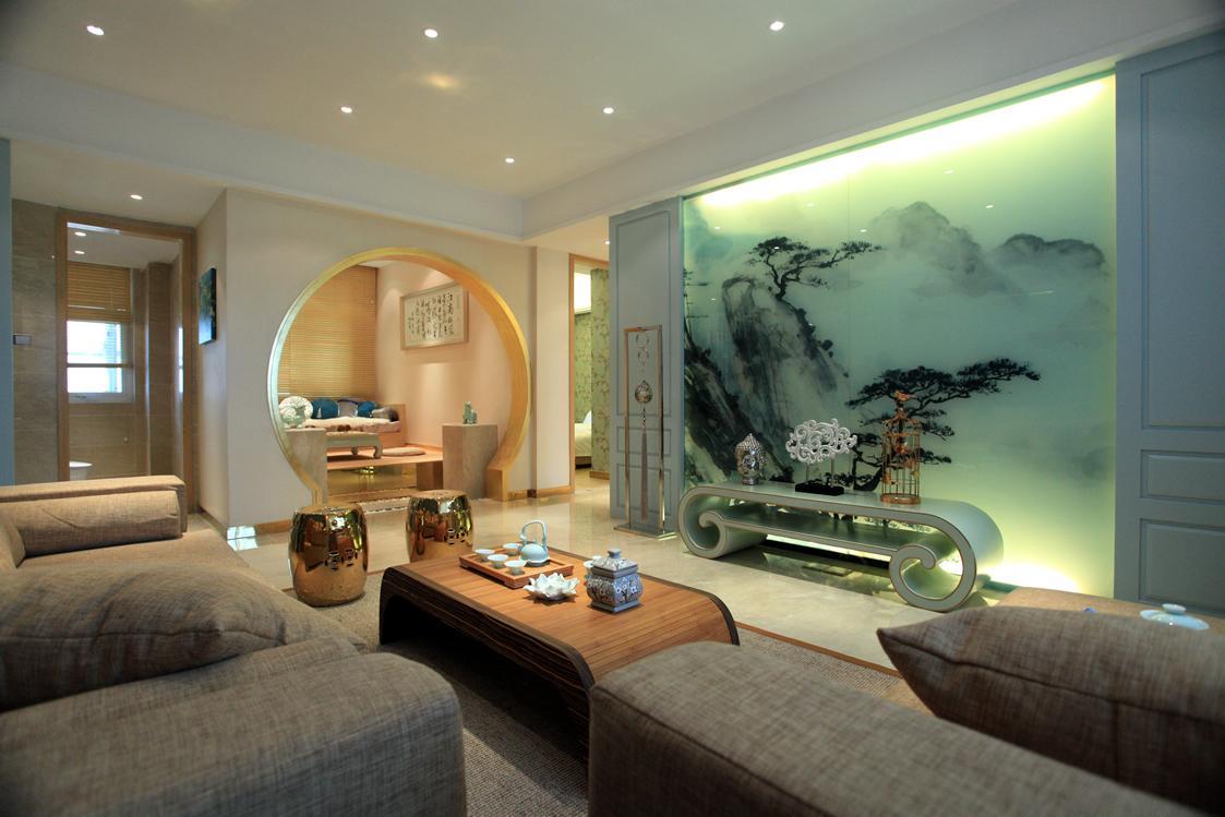 水墨新中式客厅背景墙设计