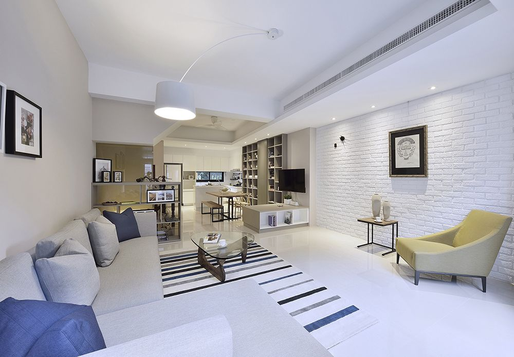纯净简约开放式公寓室内效果图
