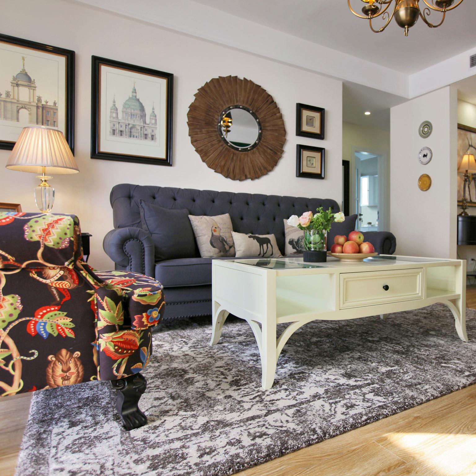 精致复古美式客厅 照片墙效果图