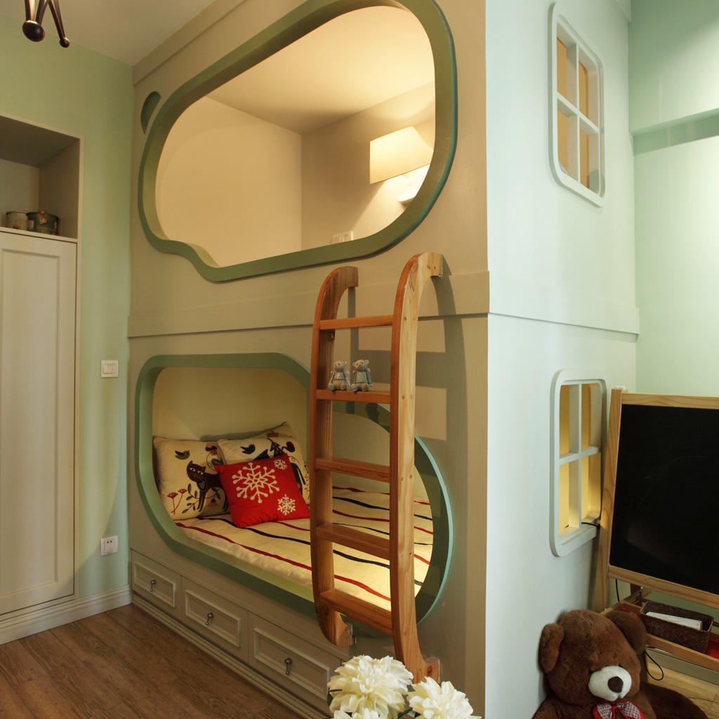 清新混搭儿童房创意床设计