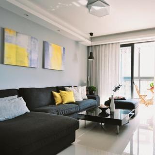简约现代客厅黑色家具图