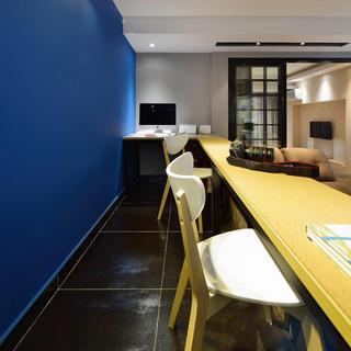 蓝色唯美混搭书房吧台设计