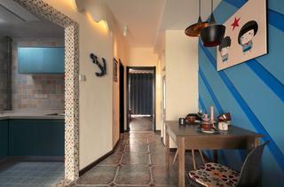 蓝色调混搭过道小餐厅设计