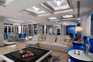 蓝色新古典别墅室内效果图