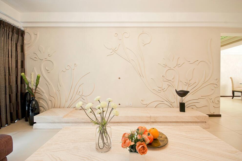 时尚简约石雕背景墙效果图