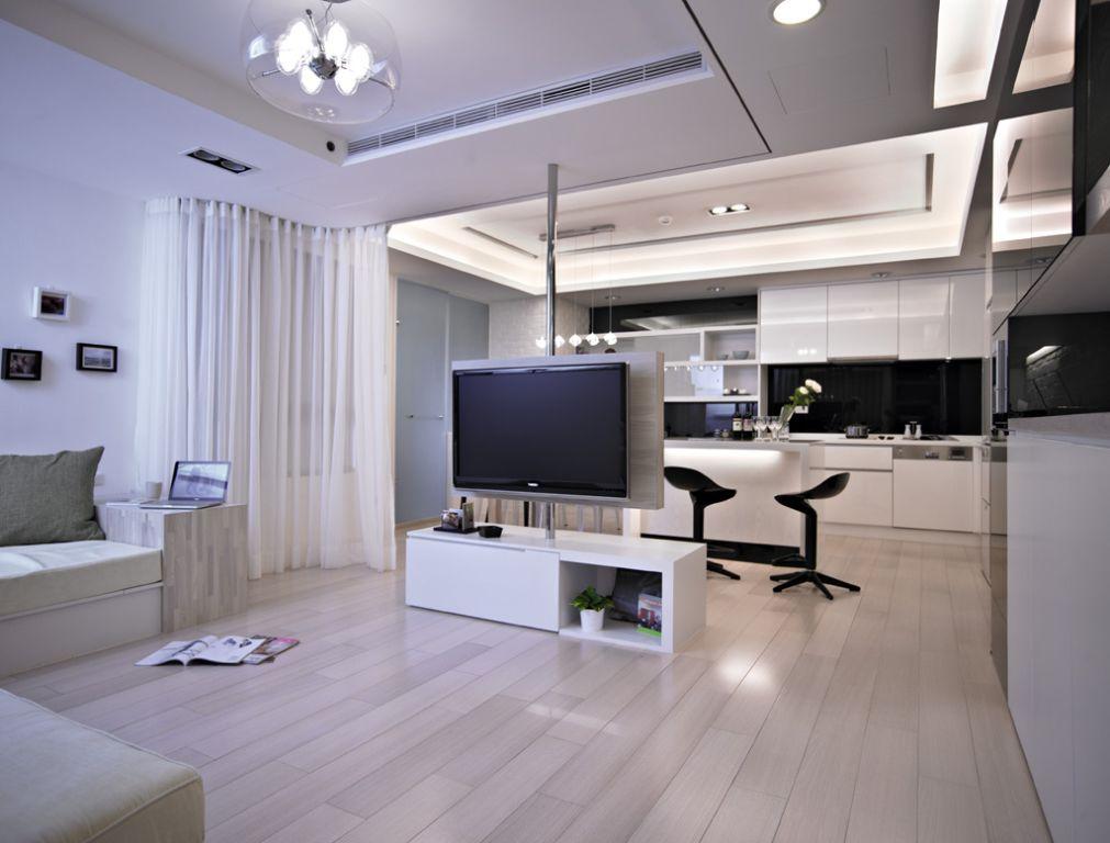 黑白简约现代公寓室内装饰图