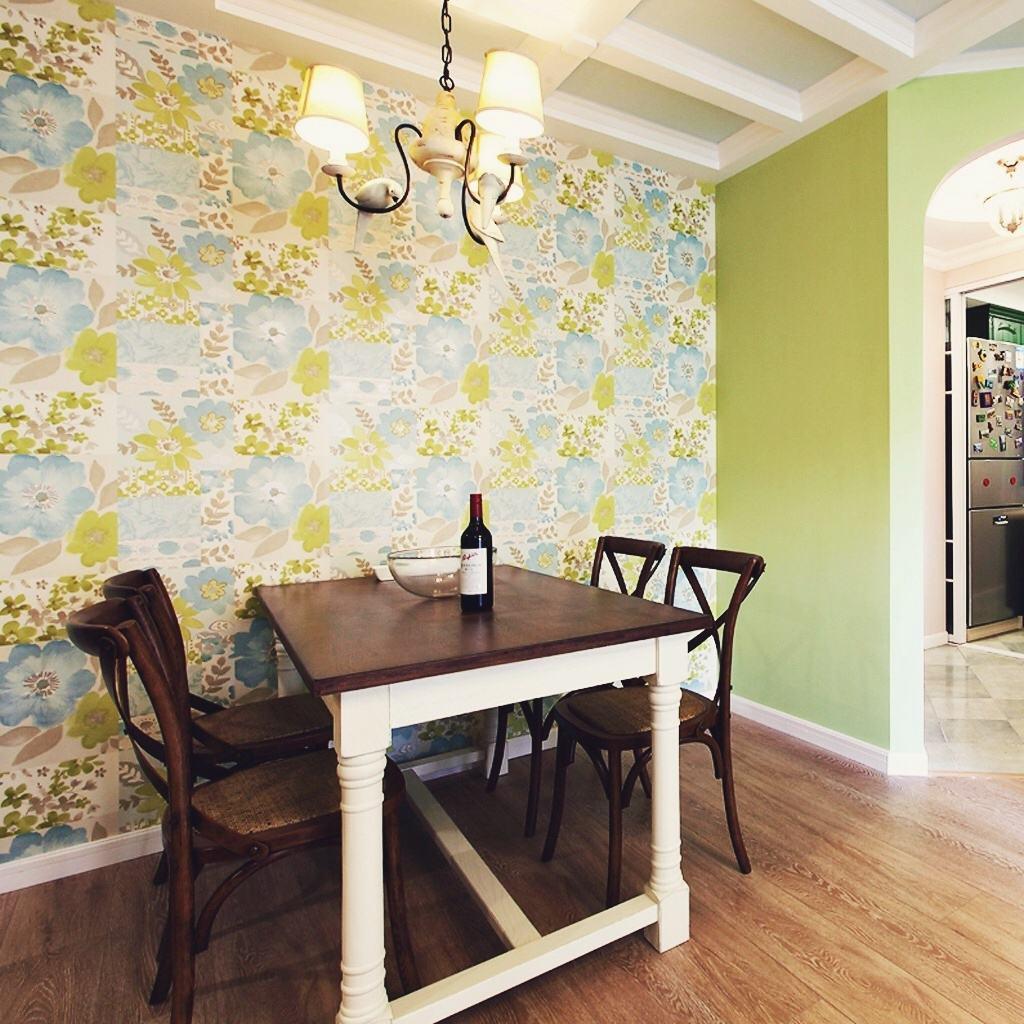 印花美式田园餐厅墙纸装饰
