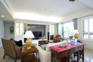 唯美美式风格客厅整体效果图