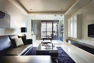 简洁现代客厅玻璃墙隔断设计