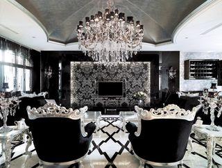 黑色新古典欧式客厅效果图