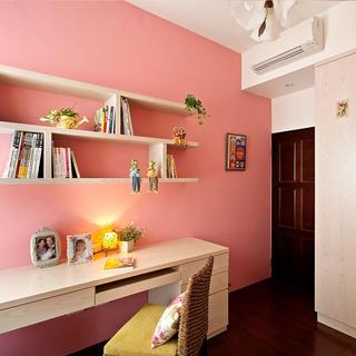 现代田园风书房粉色墙面装饰