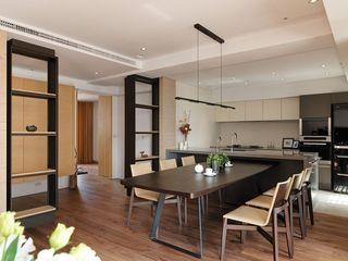 现代风开放式厨房餐厅整体效果图