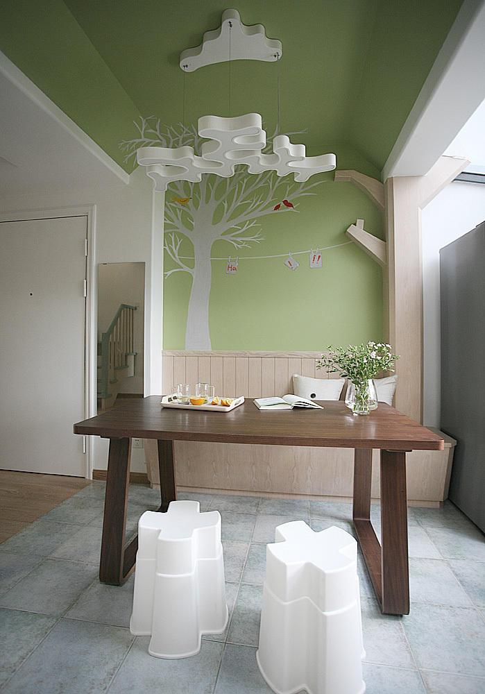 青草绿现代卡座餐厅效果图