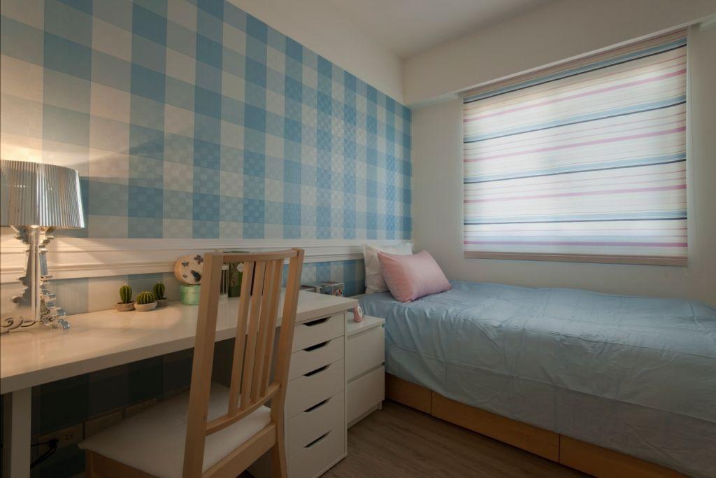 蓝色唯美美式儿童房效果图
