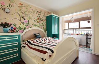 精美地中海卧室手绘墙效果图