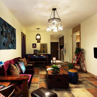 东南亚风格客厅吊灯装饰图