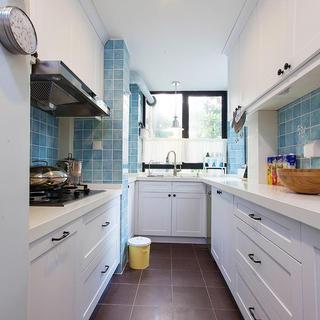 清新天蓝美式厨房橱柜设计
