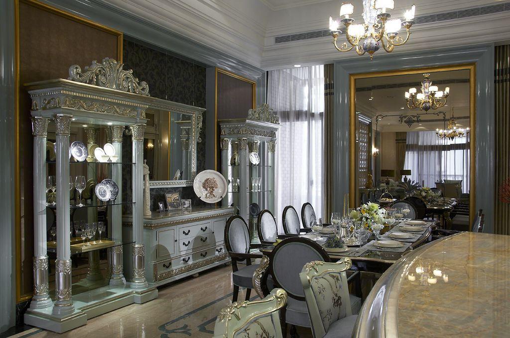 宫廷欧式餐厅博古架设计