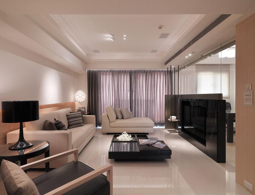 现代日式风格客厅整体效果图