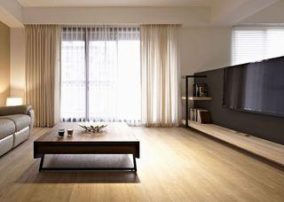 实木简约现代客厅窗帘装饰图