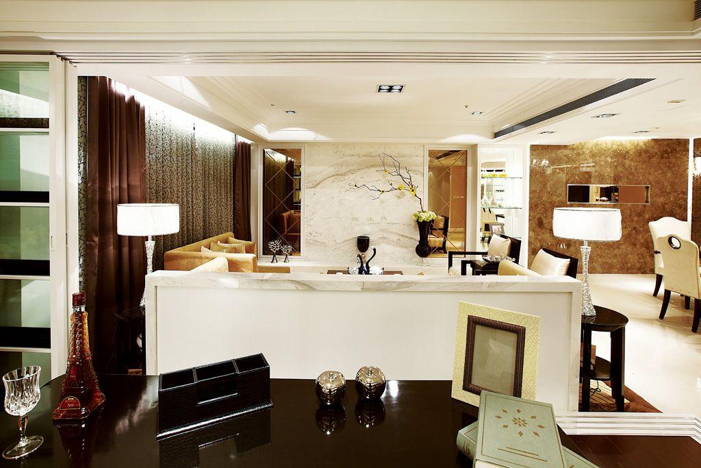 后现代客厅书房吧台隔断设计