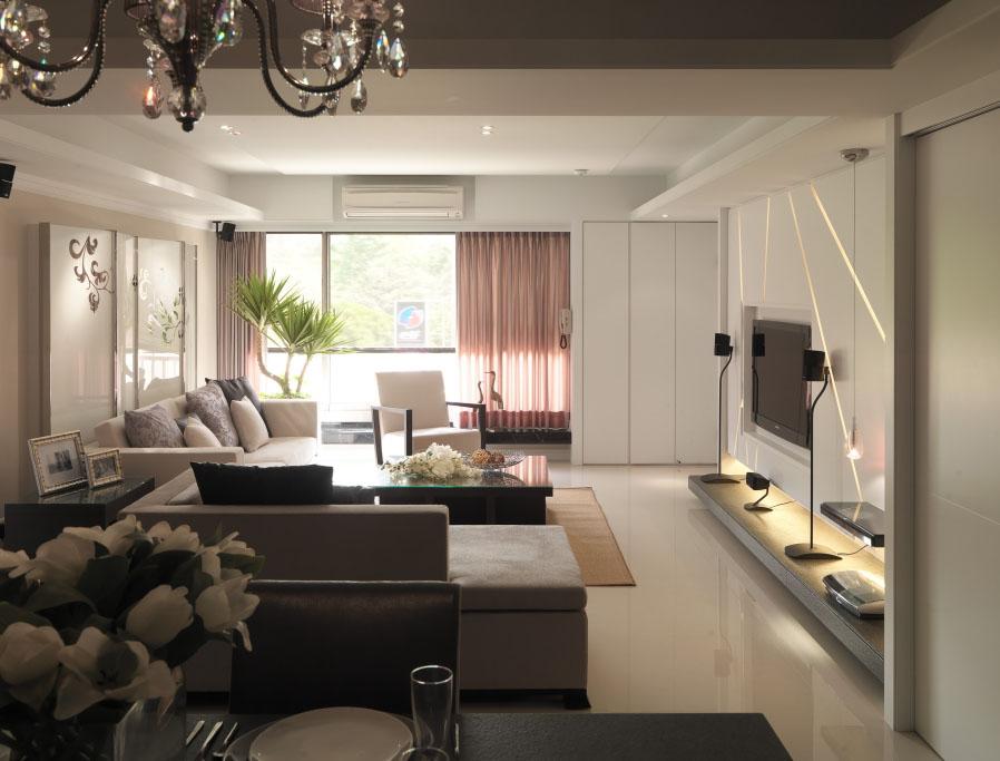 现代日式设计客厅整体效果图