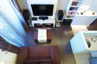 现代小户型复式客厅俯视图