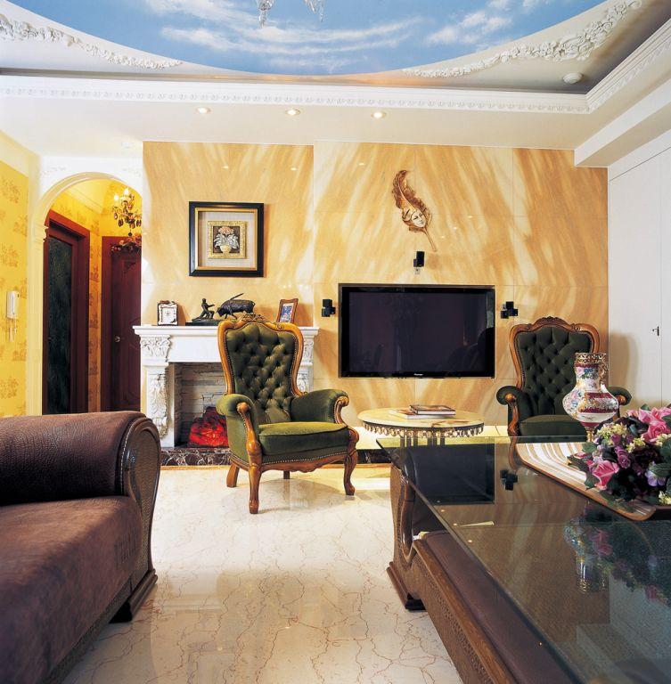 欧式风格电视背景墙装饰图