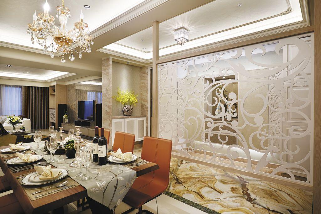 时尚宜家餐厅隔断背景墙设计