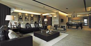 黑色怀旧美式公寓家装效果图