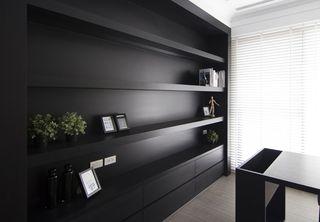 简约美式书房黑色展示柜效果图